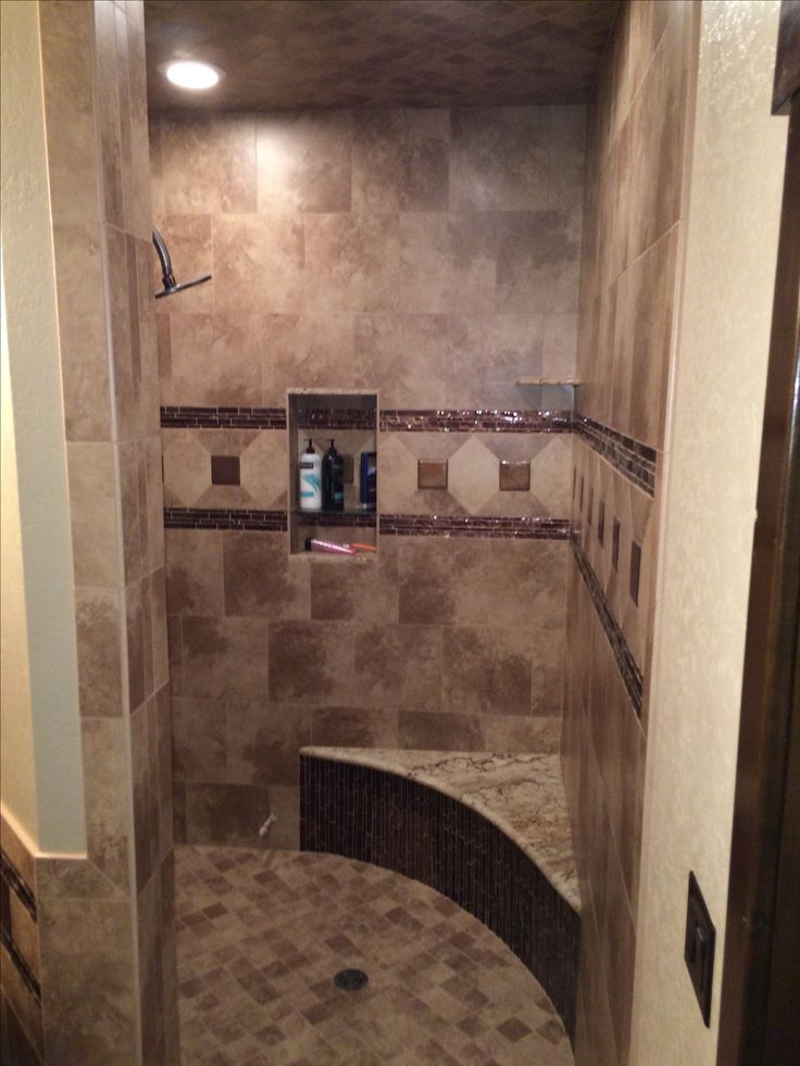 Copper Accent Tiles In Corner Walk Through Shower Rustic
