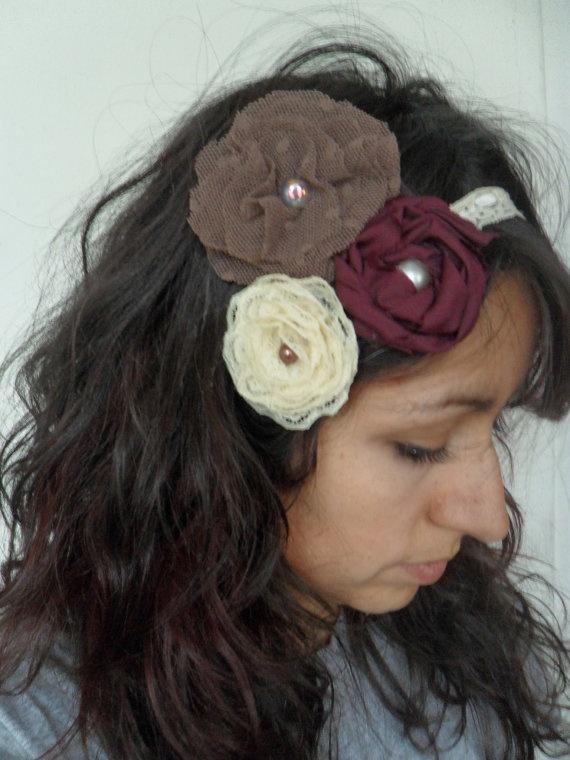 Fabric Flower Lace HeadbandYoyo Sewing, Lace Headbands, Fabric Flowers, Fabrics Flower, Sewing Sewing, Flower Lace, Ocio Creativos