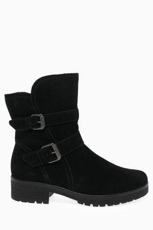 Gabor Black Shiraz Foot Fit Nubuck Mid Leg Boots | Boots