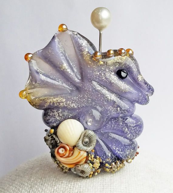 Beachy Bottom Seahorse Focal in Violet Shimmer by Sabrina Koebel Handmade Lampwork Beads
