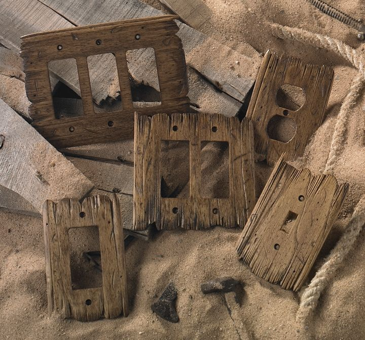 I hand-carve each Old West switch plate using tattered barn wood as a model. No two are alike. The Old West style plate is perfect for homes, haciendas, and ranch houses using western themed rustic decor. For more information, visit rusticwoodstudio.com