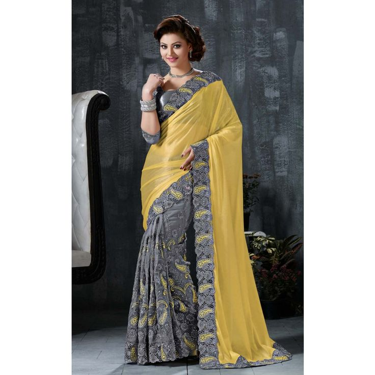 Urvashi Rautela Grey and Yellow Net #Saree With Blouse- $115.80