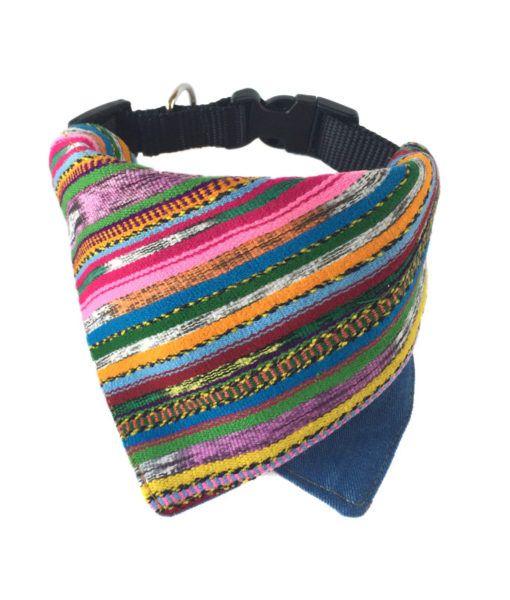 Hipster dog bandana / Boho chic collar bandana / Stripe dog bandana / Handwoven bandana / Mayan textile / Dog Clothing
