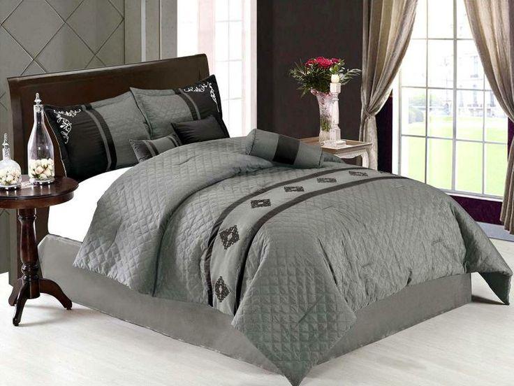 black and grey comforter sets queen | ... Elegant Embroidery Comforter Set Bed in A Bag Queen Grey Black | eBay