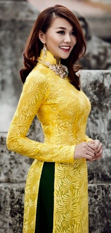 Modern Ao Dai. Black and yellow, my second favorite color combination.