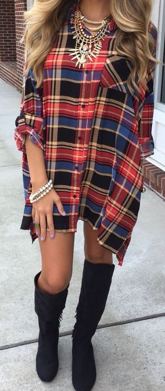 plaid dress. knee high boots.