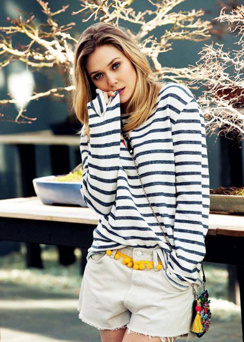 .Fashion, Elizabetholsen, Style, Pompom, Outfit, Elizabeth Olsen, Stripes, Pom Pom, Belts