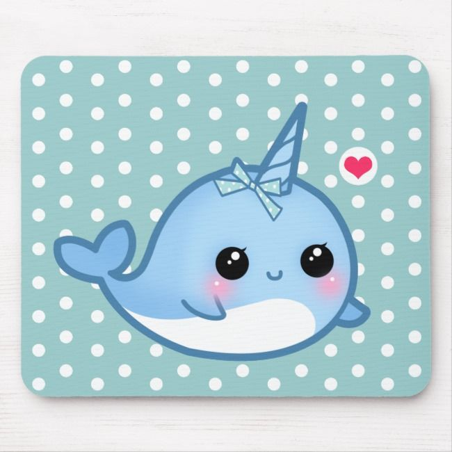Cute Baby Narwhal Mouse Pad Zazzle Com In 2020 Baby Narwhal Cartoon Baby Animals Cute Narwhal