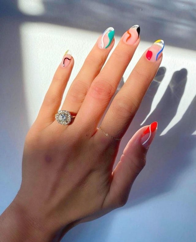 Short nails 2021 in 2020   White almond nails, White