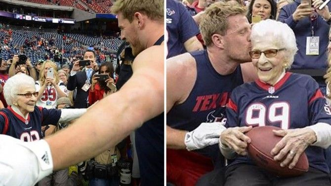 Asalee Poole thought she was just going to a Houston Texans game in celebration of her big birthday when JJ Watt ran over to her and gave her a big hug and a kiss.