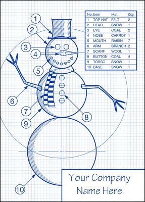 The christmas card that tells everybody you even know how to design the perfect snowman. Features a blueprint of the ideal snowman. Design is exclusive to Ziti Cards.