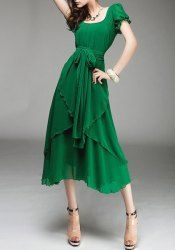 Solid Color Lace-Up Refreshing Style Scoop Neck Short Sleeve Chiffon Dress For Women (GREEN,M)   Sammydress.com Mobile