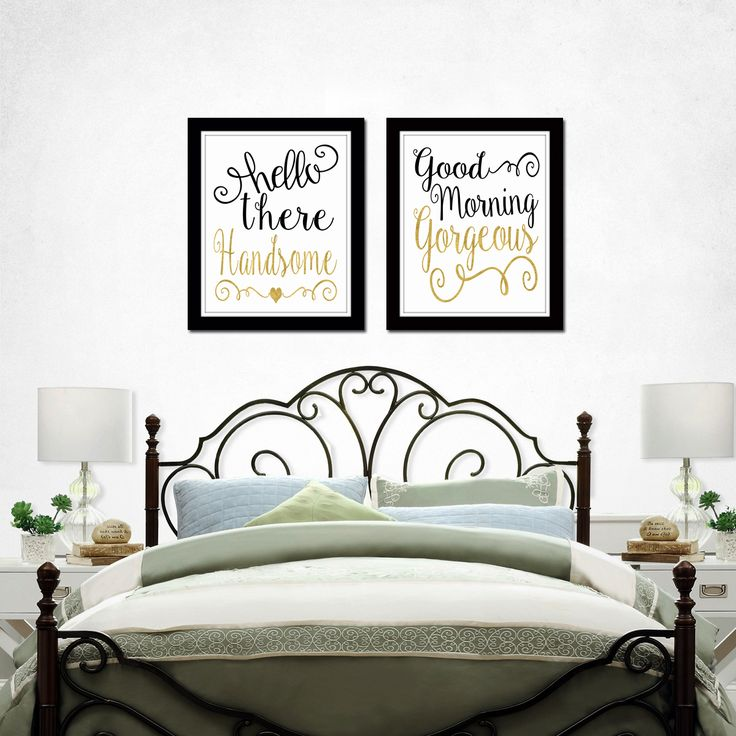 Very romantic bedroom art by Artsy Pumpkin, so pretty! Hello Handsome Good Morning Gorgeous