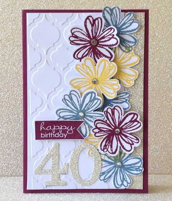 Stampin' Up! Flower Shop Bundle: 40th Birthday Card - Simone Bartrum, Stampin Up! demonstrator - Victoria, Australia