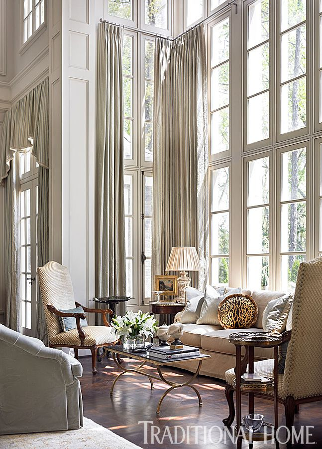 Pale Gray Walls And Soaring Windows Set The Tone For This Lovely, Neutral  Space. Tall Window TreatmentsTraditional ...