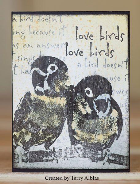ATC by Terry Alblas using Darkroom Door Love Birds Rubber Stamps