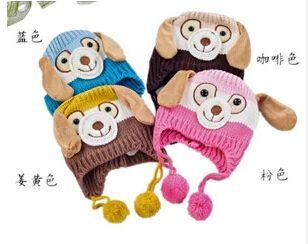 ( cz0248) hayvan köpek maymun şeklinde örme bebek şapka erkek kız sonbahar kış sıcak şapka çocuk sevimli karikatür kulak- korumalı şapka bere(China (Mainland))