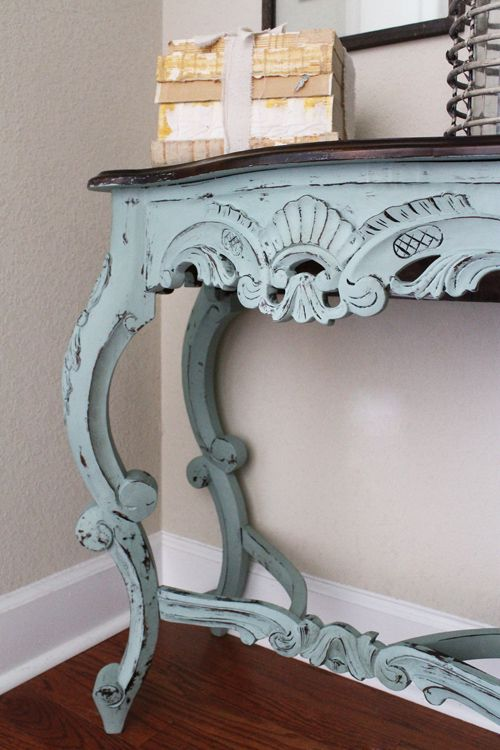 antique carved and blue table love love love! ah i love antique/vintage furniture like this