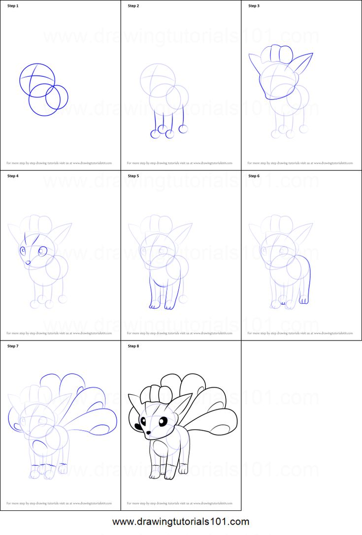 How to Draw Vulpix from Pokemon GO Printable Drawing Sheet by DrawingTutorials101.com