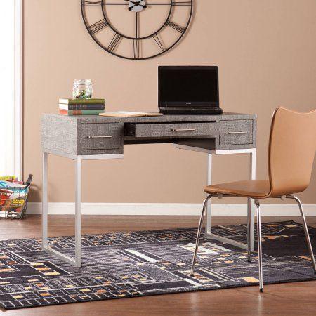 Southern Enterprises Petra Eclectic Desk, Faux Gray Reptile