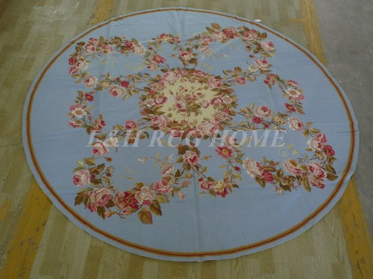 Free shipping 8'X8' Round  Handmade Floral Blue Roses Wool Needlepoint Area Rug New Store Openning #Affiliate