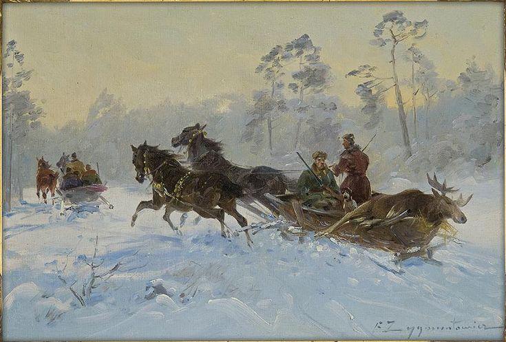 """Malarstwo polskie Czesław Wasilewski """"Powrót z polowania"""", olej na płótnie, 36,2 x 52,5 cm, własność prywatna"""