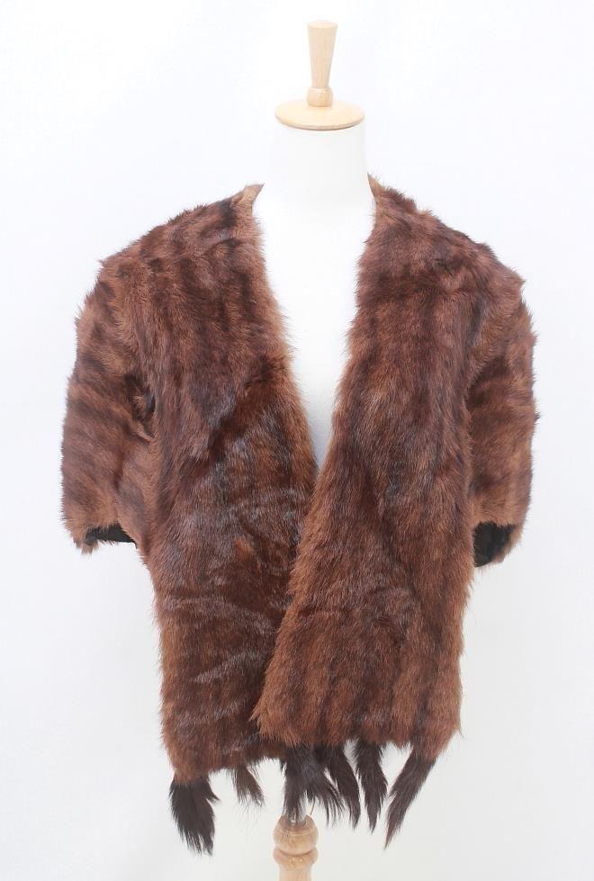 VINTAGE Genuine Dark Brown FUR Detachable Tails Wrap Stole AUS 10 12 14 S M L