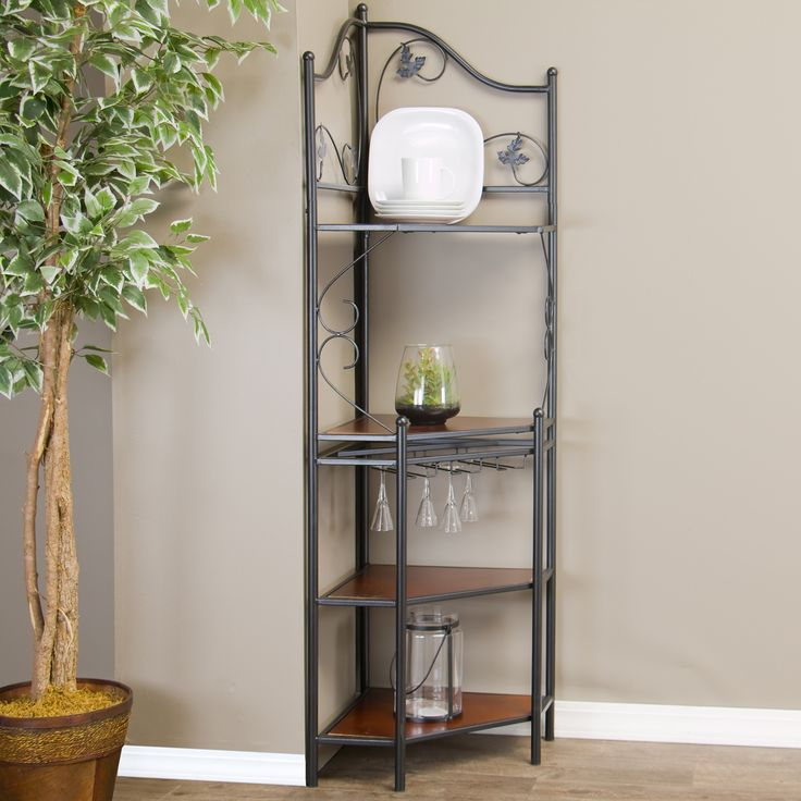 Baxton Studio Pomona Low Wood and Metal Transitional Baker's Rack