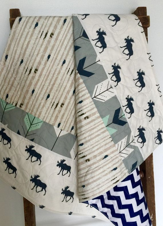 Baby Quilt Boy Moose Bow and Arrow WoodlandBirch by CoolSpool