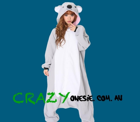 Grey Koala Onesie. 25% off EVERYTHING in store. Free Express Delivery Australia-wide. Visit www.crazyonesie.com.au for more details. Visit our Facebook page https://www.facebook.com/crazyonesie for exclusive competitions and discounts