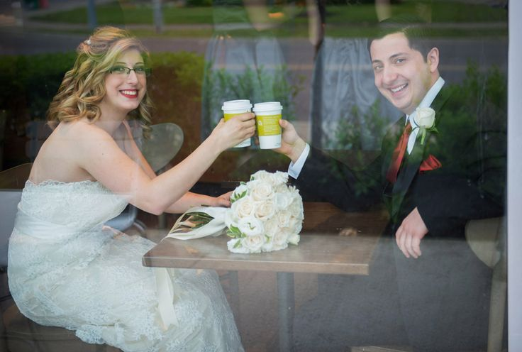 Bride and Groom at Starbucks giving a cheers! Wedding Photography at Starbucks is pretty easy, they love having wedding parties stop by in my experience.