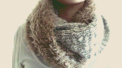 2種の毛糸のスヌードの作り方|編み物|編み物・手芸・ソーイング|ハンドメイド | アトリエ