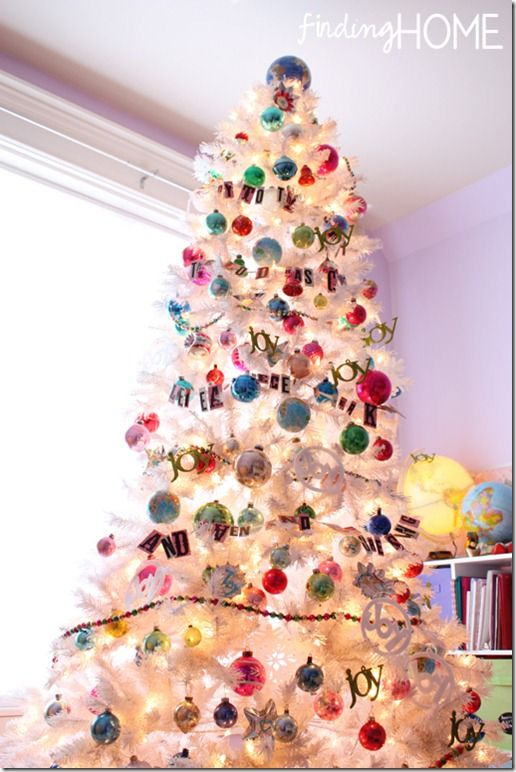 Vintage White Joy to the World Christmas Tree - Finding Home