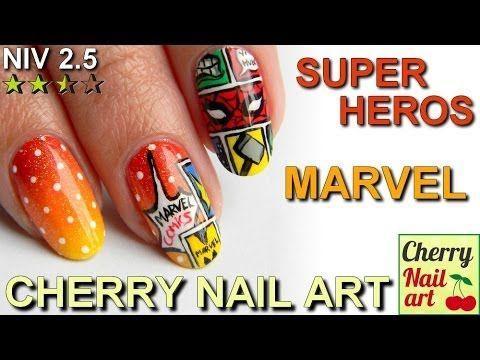 Tutoriel nail art BD Marvel : dégradé a la mousse + pois et effet bande dessinée avec les super heros Marvel Spiderman, Hulk Iron Man etc Nail art fun et col...