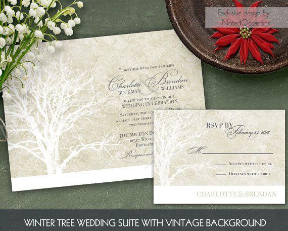Rustic Tree Wedding Invitation Set Oak Tree by NotedOccasions
