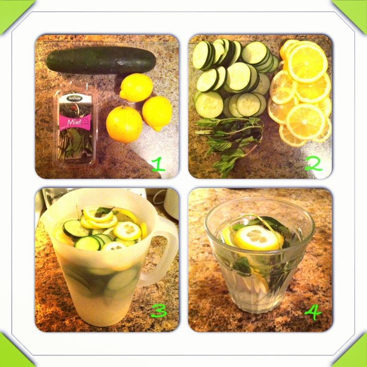 Detox water: one gallon of water, one cucumber (sliced), 3 lemons (sliced) and a handful of mint leaves. Add all ingredients to the water, let it brew overnight and enjoy it the next day! Helps with cleansing the system, digestion, weightloss and clearing the skin!