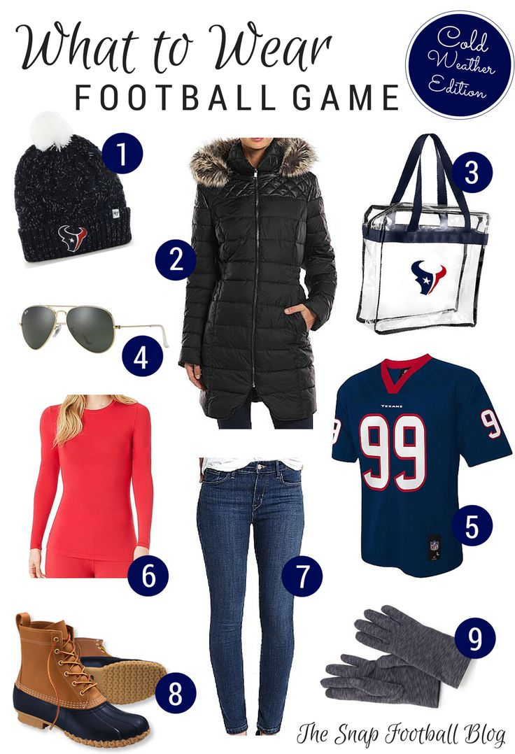 Scrolling through Pinterest one day, I came across a guide of what to wear to a football game. The guide included boots with 4-inch spike heels. *face palm* If you are attending a football game, ch…
