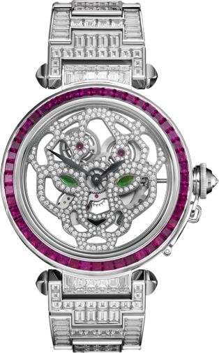 Pasha de Cartier 42 mm Squelette watch 42 mm, rhodiumized 18K white gold, rubies, diamonds