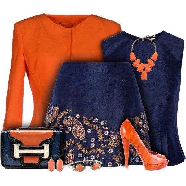 Suno Silk Mini Skirt Blue & Orange Outfit by helenehrenhofer on Polyvore featuring moda, SUNO New York, Alberta Ferretti, Yves Saint Laurent, Pierre Hardy, Kendra Scott and Trilogy