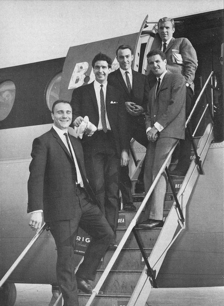 23rd May 1964. England squad members George Cohen, Maurice Norman, Jimmy Greaves, Terry Paine and Bobby Moore boarding a flight to take them to Dublin to play Ireland.