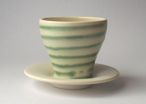 Wheel thrown stoneware creamy white and green striped by DMPottery, $34.00