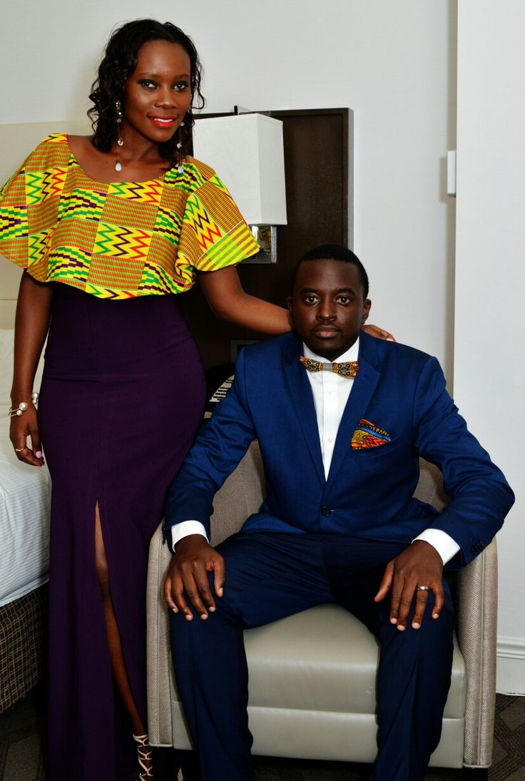 styled by (ltr) Chuck Brian Salvator and Afrisent. inzozi fashion. patterned-shoulder long dress with high slit, kente accessories for men's suit.