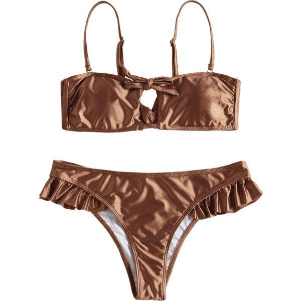 Tied Padded Bra With Ruffles Swim Bottoms (28 BAM) ❤ liked on Polyvore featuring swimwear, bikinis, ruffle bottom bikini, swim bikini bottoms, frilly bikini, tie bikini and frill bikini bottoms