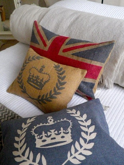 Hand printed rustic Union Jack flag cover.