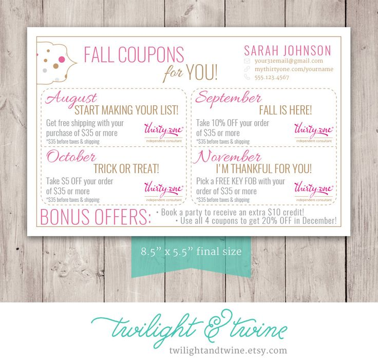 Thirty-one Fall Coupon Sheets - Custom PDF Printable ( Thirty One, 31, Business, Card, Thank You, Coupons, Bag Tag) by TwilightAndTwine on Etsy