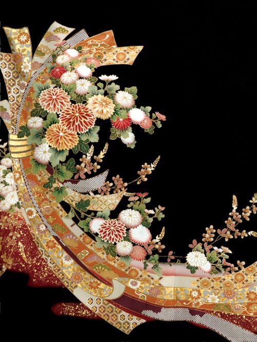 Yuzen-dyed (resist-painting) detail of a kurotomesode kimono. Japan. FourSis&Co.