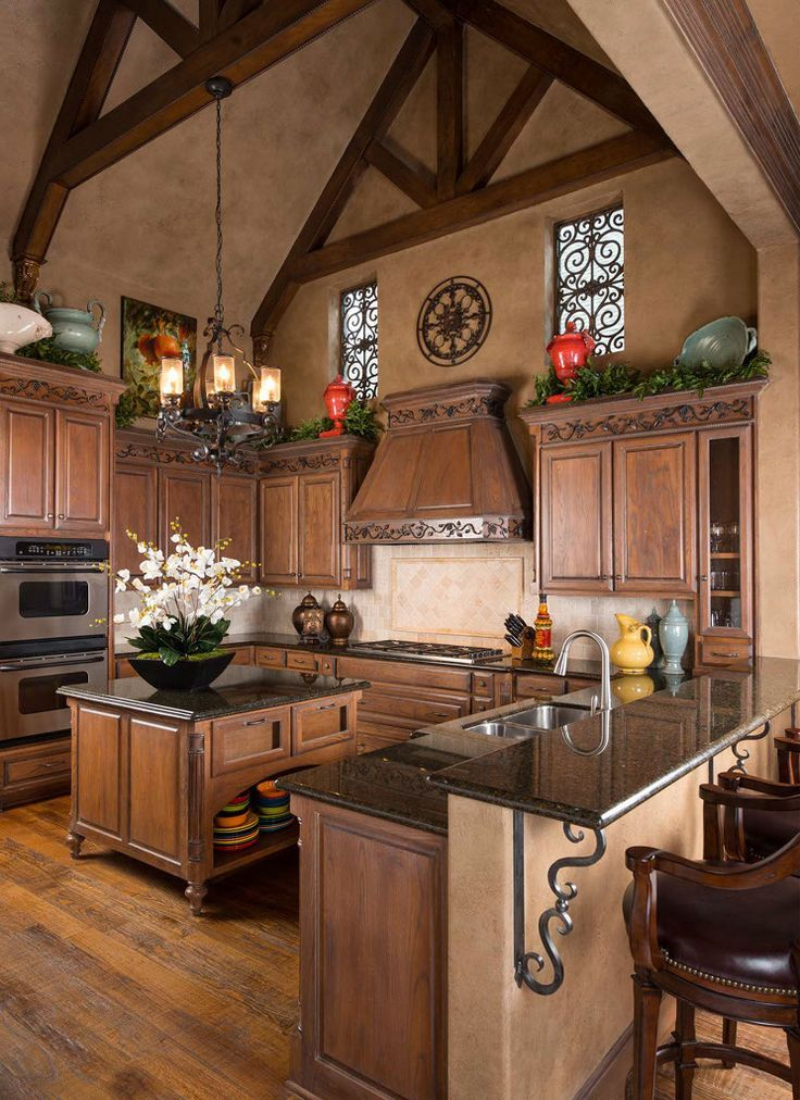 Island lighting Gorgeous Tuscan kitchen | Wesley-Wayne Interiors ᘡղbᘠ