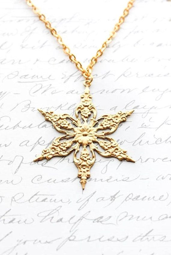 Snowflake Necklace Gold Star Pendant Winter Snow Golden Raw Brass Modern Jewellery Holiday Fashion Christmas