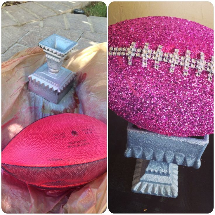 """Forgot to take a proper """"Before"""" pic - But started with a green, heavy, glass vase and  old, deflated San Diego Chargers football to make our Lucky Ladies [Fantasy Football] League trophy!!! ☺️"""