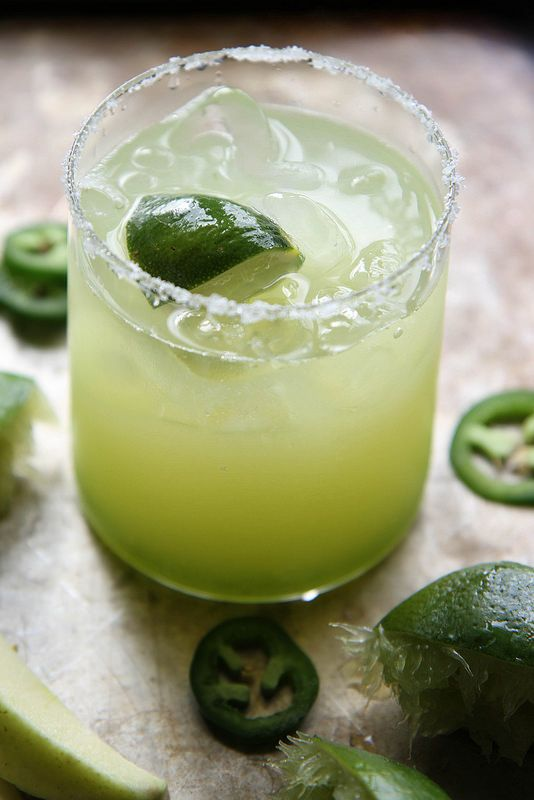 Sour Green Apple Margarita: Lime Wedge, Kosher Salt, Jalapeno Simple Syrup (recipe), Sour Green Apple Juice, Lime Juice, Tequila Blanco, Grand Marnier, Lime Wedges.